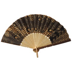 Vintage Yellow and Black Batik Bamboo Fan