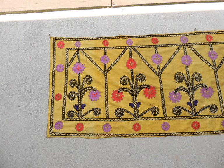 Moorish Vintage Yellow and Black Embroidery Suzani Textile Panel For Sale