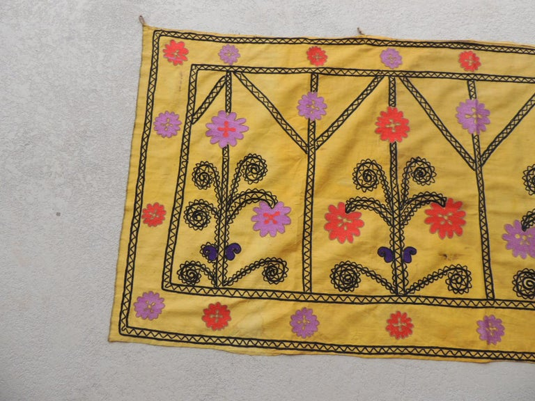 Uzbek Vintage Yellow and Black Embroidery Suzani Textile Panel For Sale