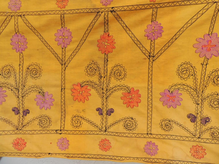 Uzbek Vintage Yellow and Black Embroidery Suzani Textile Panel For Sale