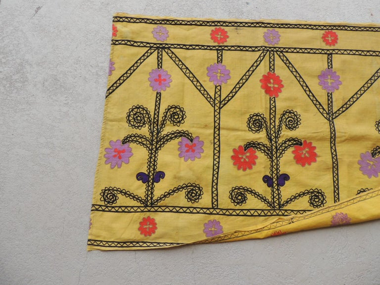 Hand-Crafted Vintage Yellow and Black Embroidery Suzani Textile Panel For Sale