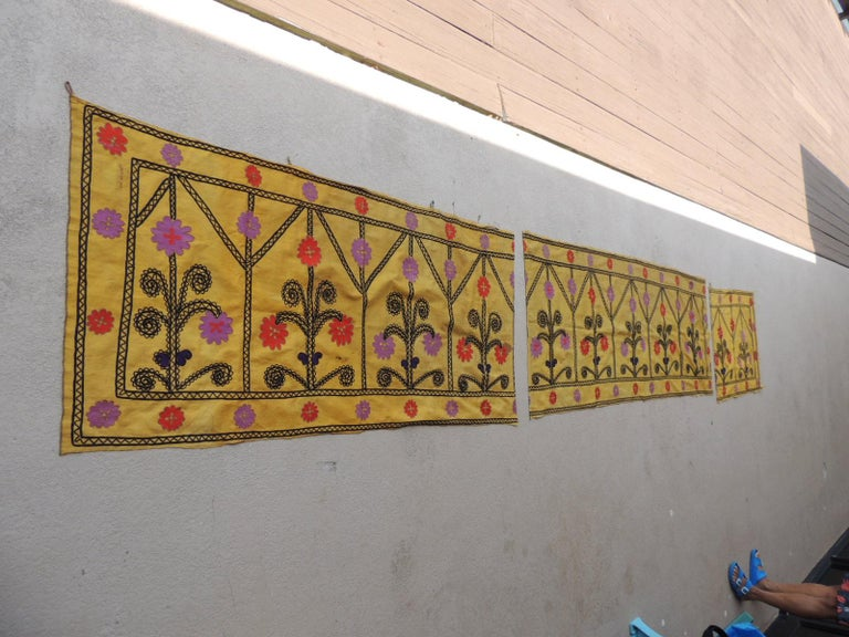 Mid-20th Century Vintage Yellow and Black Embroidery Suzani Textile Panel For Sale