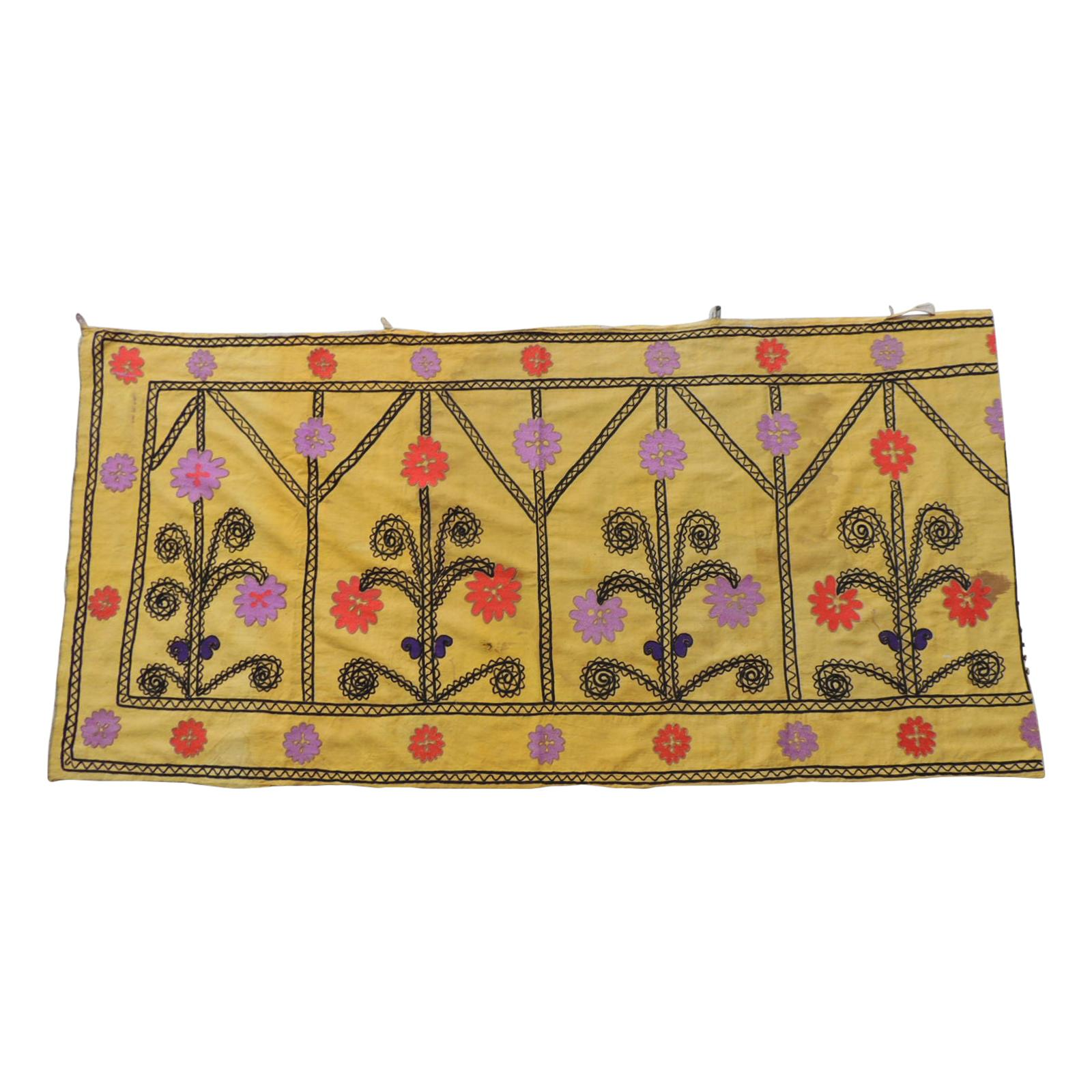 Vintage Yellow and Black Embroidery Suzani Textile Panel