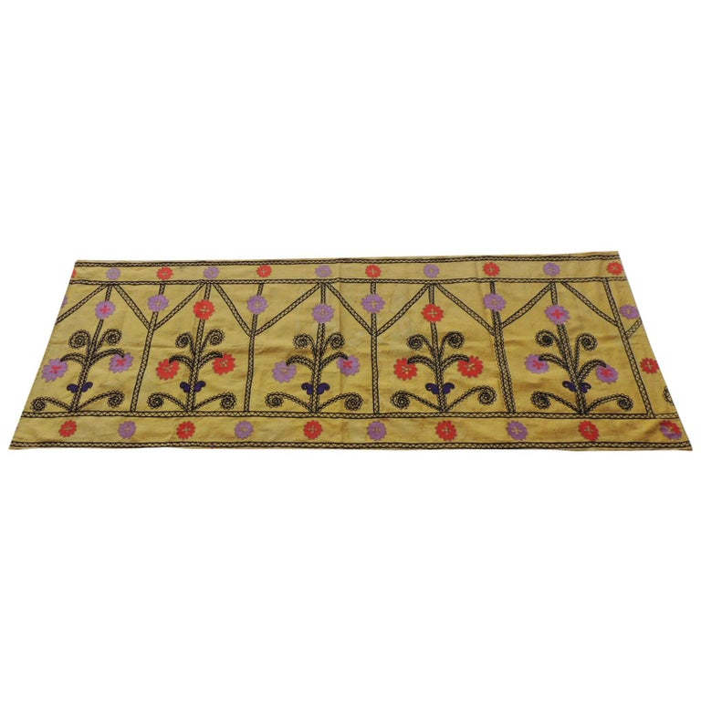 Vintage Yellow and Black Embroidery Suzani Textile Panel For Sale