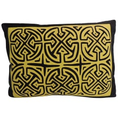 Vintage Yellow and Black Graphic Mola Decorative Pillow