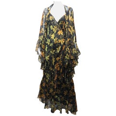 Vintage Yellow and Black Silk Floral Print Dress with Shawl by Pilar Rossi