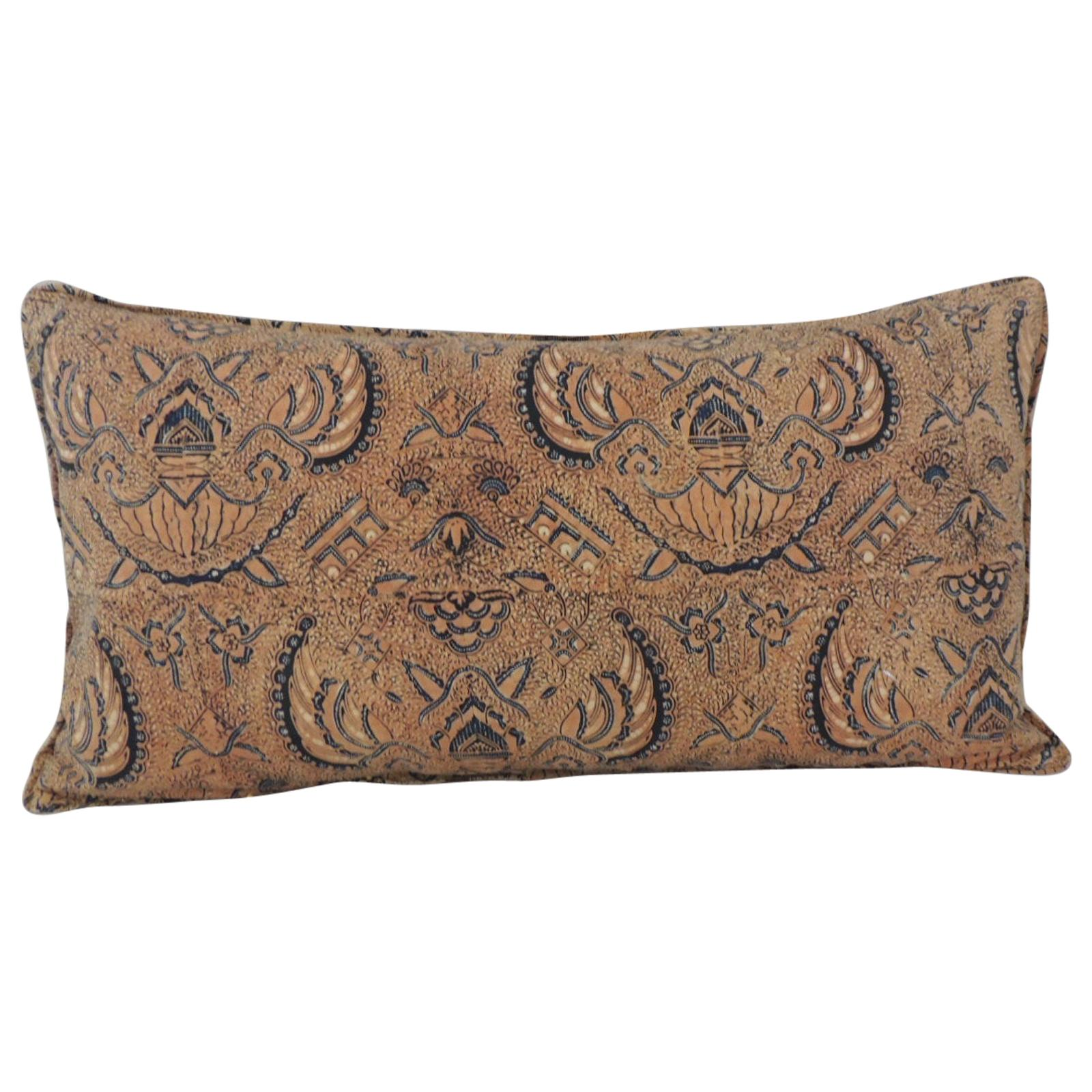 Vintage Yellow and Blue Hand-Blocked Batik Long Bolster Decorative Pillow