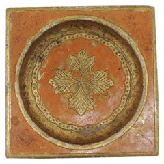 Vintage Yellow and Gold Leather Florentine Catchall Tray