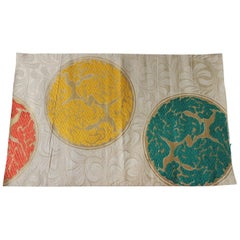 Vintage Yellow and Green Silk Obi Textile with Medallions Fragment