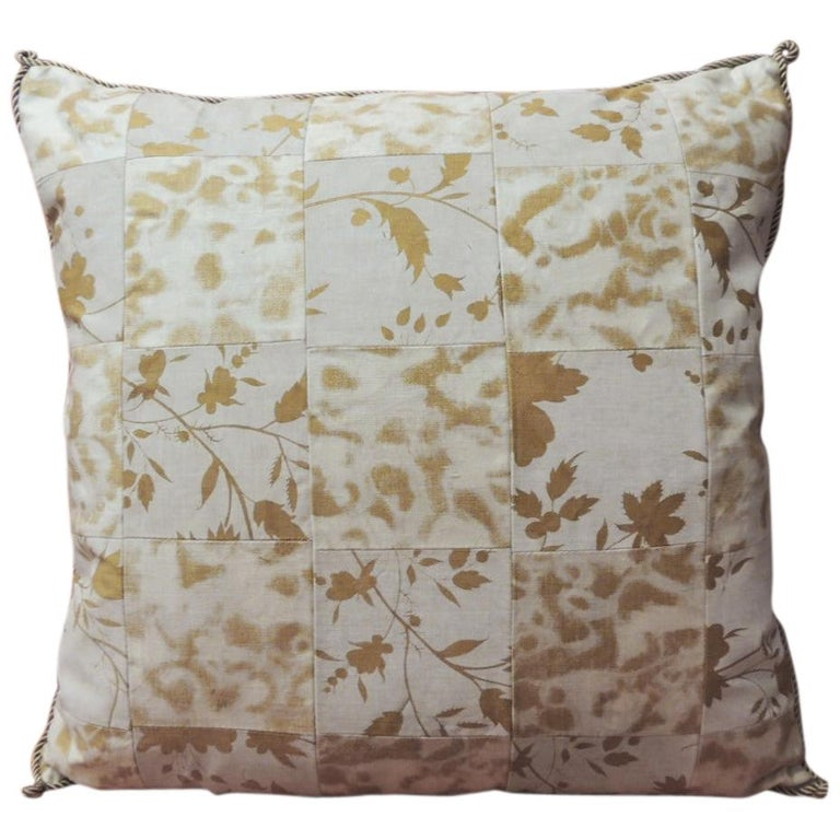 Vintage Yellow and Natural Fortuny Patchwork Square Decorative Pillow For Sale