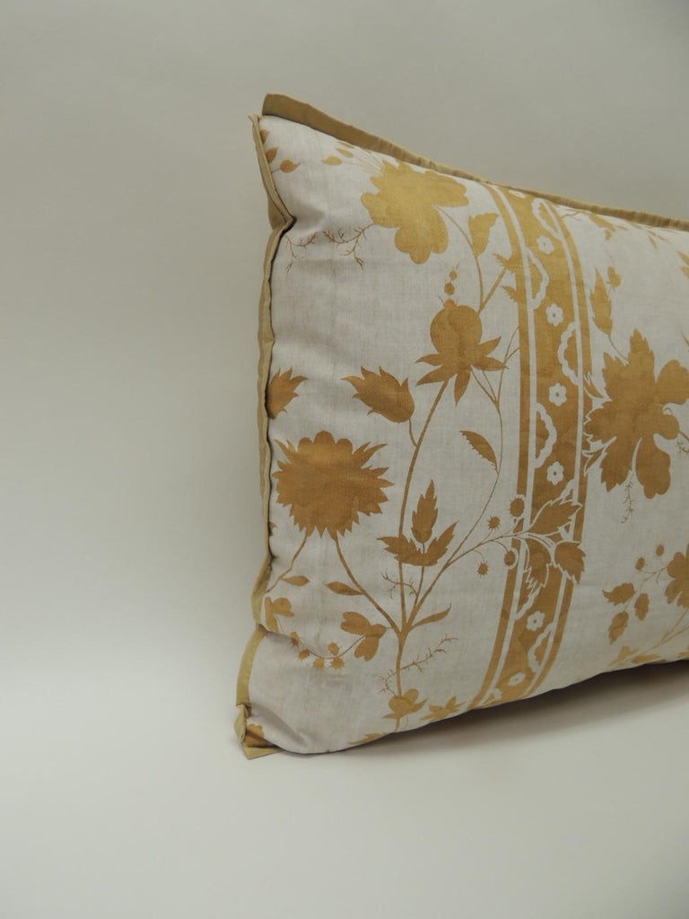 Vintage yellow and natural Fortuny stripes and flowers decorative handcrafted bolster pillow embellished with ATG custom flat golden silk trim, same silk as backing. Decorative bolster pillow handcrafted and designed in the USA. Throw bolster pillow