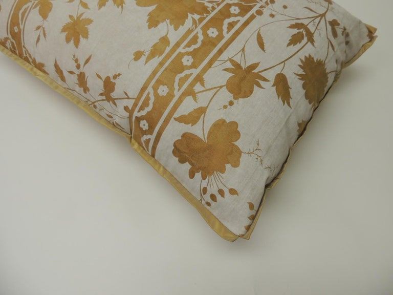 Regency Vintage Yellow and Natural Fortuny Stripes and Flowers Bolster Decorative Pillow For Sale