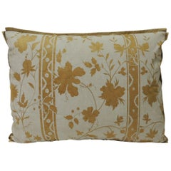 Vintage Yellow and Natural Fortuny Stripes and Flowers Bolster Decorative Pillow