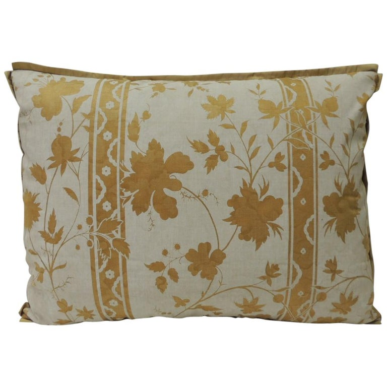 Vintage Yellow and Natural Fortuny Stripes and Flowers Bolster Decorative Pillow For Sale