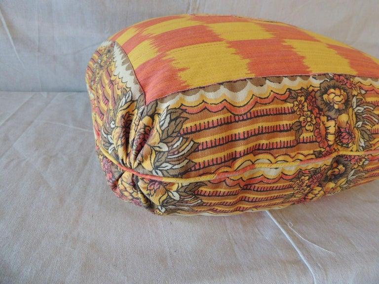 Moorish Vintage Yellow and Orange Batik and Ikat Decorative Square Pillow For Sale