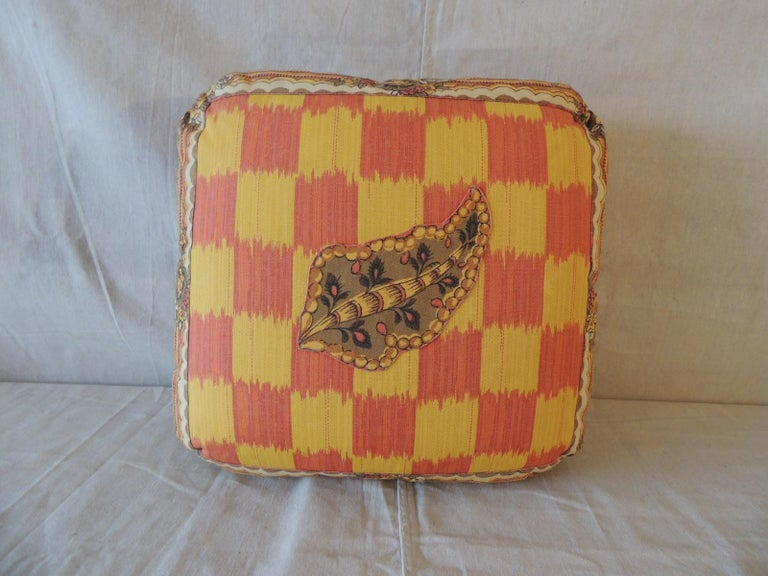 Indonesian Vintage Yellow and Orange Batik and Ikat Decorative Square Pillow For Sale