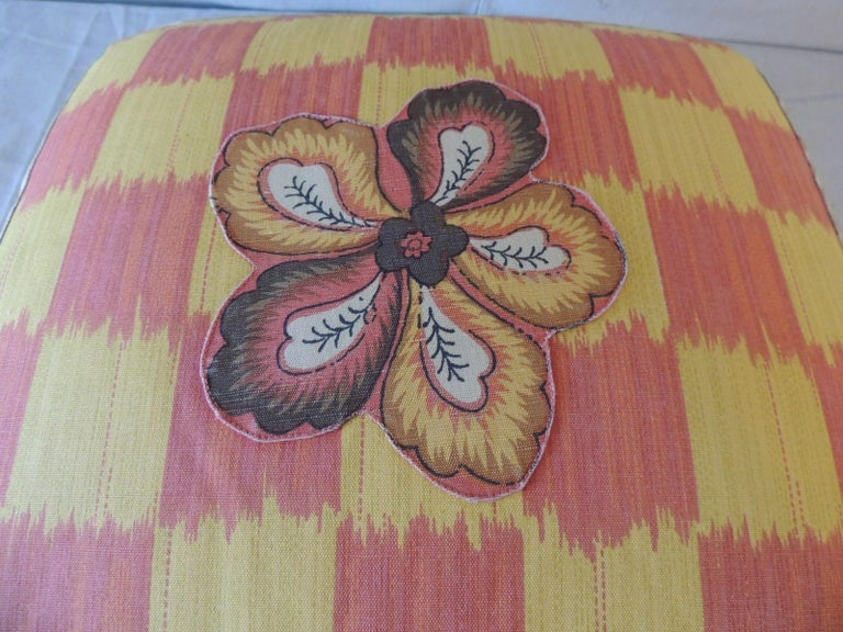 Vintage Yellow and Orange Batik and Ikat Decorative Square Pillow In Good Condition For Sale In Oakland Park, FL