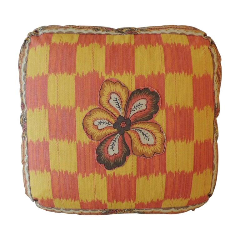 Vintage Yellow and Orange Batik and Ikat Decorative Square Pillow For Sale