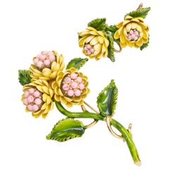 Vintage Yellow and Pink Flower Enamel Gold Plated Set, Pin and Clip on Earrings