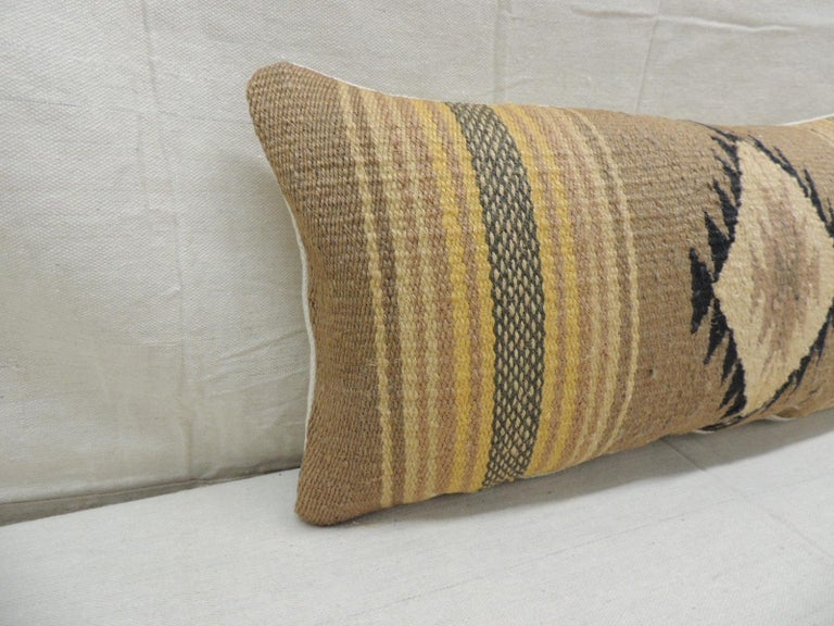 Vintage yellow and Tan Navajo style woven decorative lumbar pillow with woven linen backing. Decorative pillow handcrafted and designed in the USA. Closure by stitch (no zipper closure) with custom made pillow insert. Size: 10