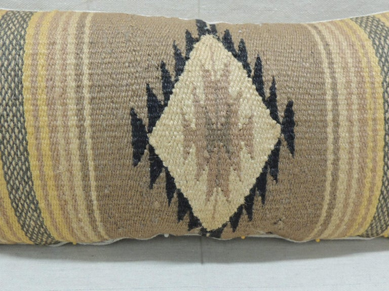 Mexican Vintage Yellow and Tan Navajo Style Woven Decorative Lumbar Pillow For Sale