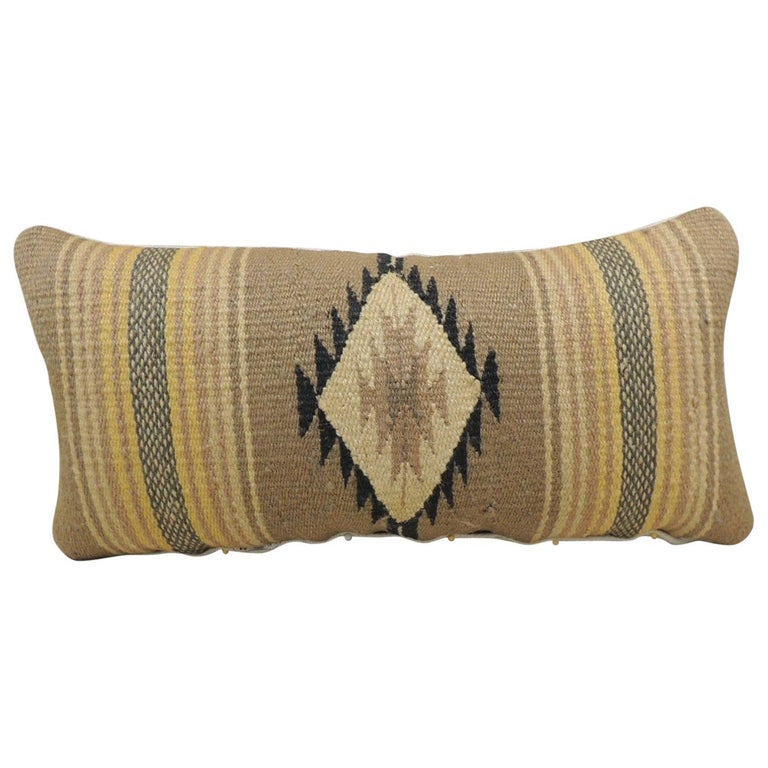 Vintage Yellow and Tan Navajo Style Woven Decorative Lumbar Pillow For Sale