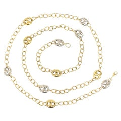 Vintage Yellow and White Gold Two Tone Chain Necklace, Italy