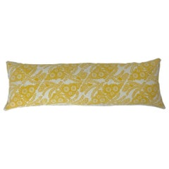 Vintage Yellow and White Hand Block Printed Folly Cove Designers Pillow