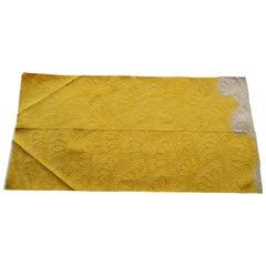 Vintage Yellow and White Woven Obi Fragment
