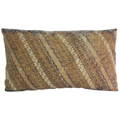 Vintage Yellow and Brown Hand-Blocked Batik Lumbar Decorative Pillow