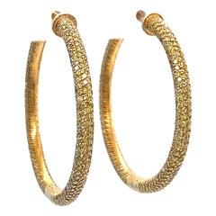 Vintage Yellow Diamond 18 Karat Gold Hoop Earrings