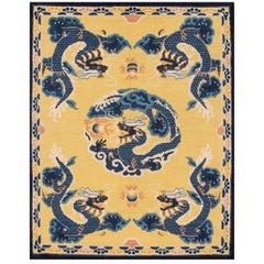 Vintage Yellow Dragon Peking Chinese Wool Rug