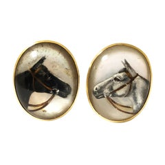 Vintage yellow Gold and Reverse Crystal Horse Cufflinks