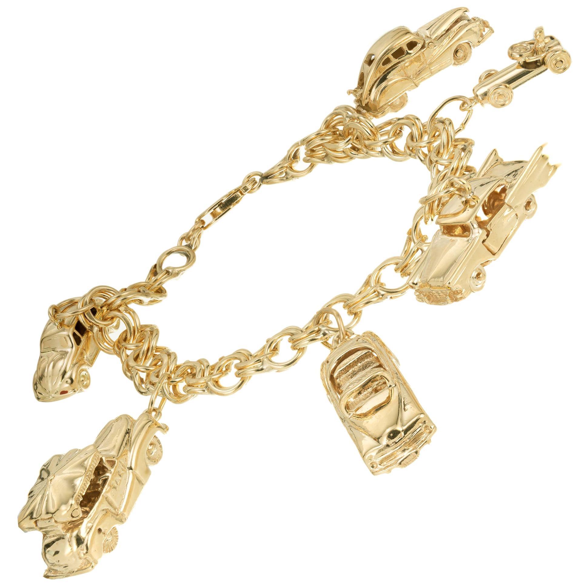 Vintage Yellow Gold Car Themed Charm Bracelet