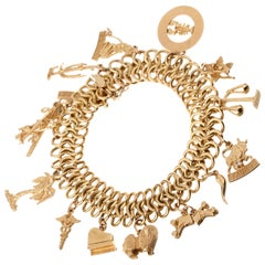 Vintage Yellow Gold Charm Bracelet