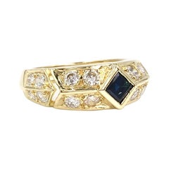 Vintage Yellow Gold Dark Blue Sapphire and Diamond Ring