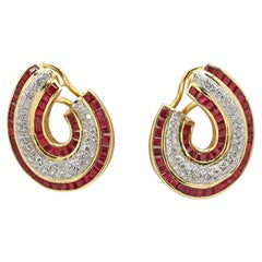 Vintage Yellow Gold Diamond and Ruby Earrings