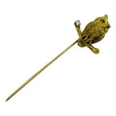 Vintage Yellow Gold Diamond and Ruby Owl Stick Pin