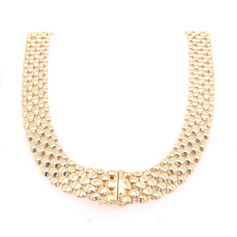 Modern Yellow Gold Diamond Link Necklace For Sale