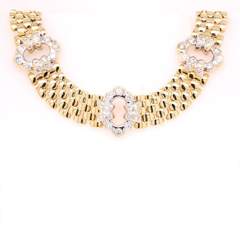 Round Cut Yellow Gold Diamond Link Necklace For Sale