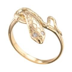 Vintage Yellow Gold Diamond Snake Ring