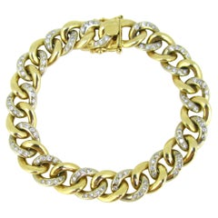 Vintage Yellow Gold Diamonds Link Chain Curb Bracelet