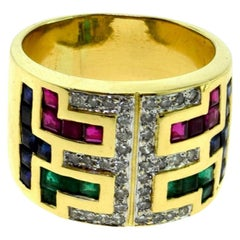 Vintage Yellow Gold Emerald, Ruby, Sapphire, and Diamond Wide Band Ring