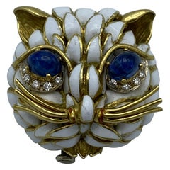 Vintage Yellow Gold, Enamel, Diamond and Cabochon Sapphire Cat Face Pin Brooch