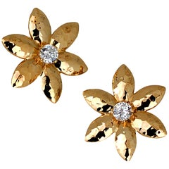 Vintage Yellow Gold Floral Hammered Diamond Earrings