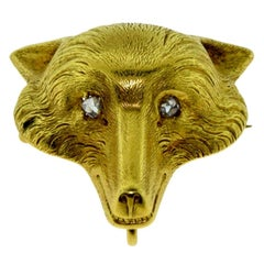 Vintage Yellow Gold Fox with Diamond Eyes Pin