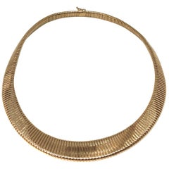 Vintage Yellow Gold Graduating Tubogas Style Collar Necklace