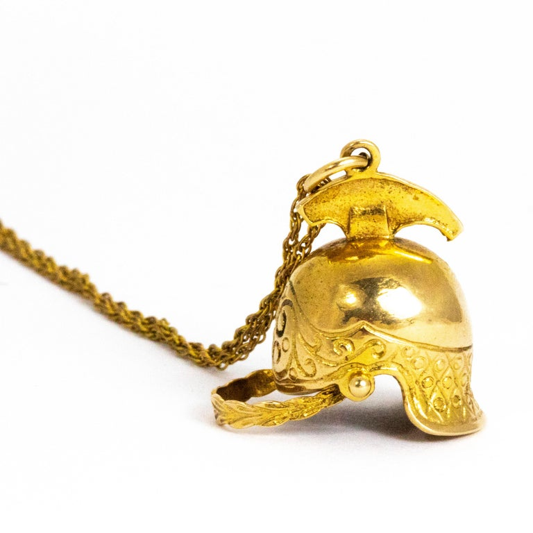Modern Vintage Yellow Gold Helmet Pendant and Chain For Sale