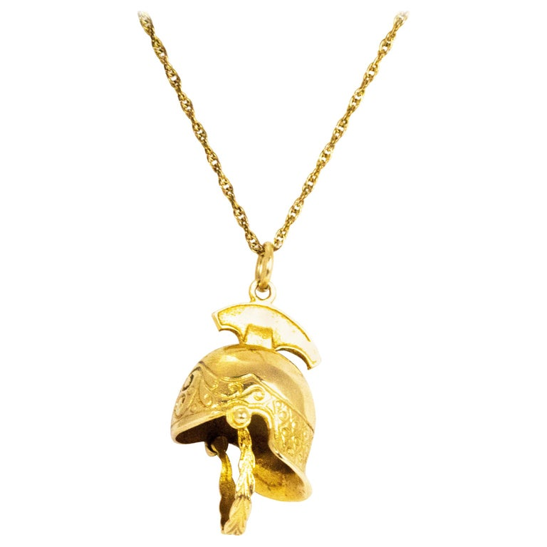 Vintage Yellow Gold Helmet Pendant and Chain For Sale