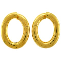 Vintage Yellow Gold Hoop Earrings Italy Clip-On, 1980s